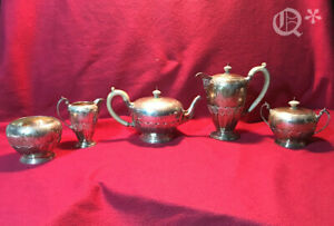 1928 Antique George V Sterling Silver Five Piece Tea And Coffee Service