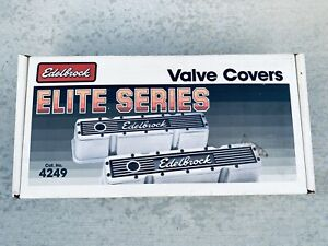 Vintage Edelbrock Elite Series 4249 Sb Chevy Tall Valve Covers Aluminum Pair New