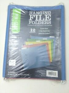 Pen gear Hanging File Folders Blue Green Red Yellow Letter Size 12 Count Total