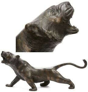 Antique Japanese Meiji Bronze Okimono Tiger Statue Figure Sculpture Japan Old
