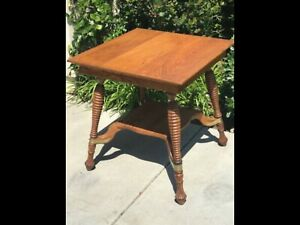 Antique Victorian Square Quartersawn Gold Oak Beehive Turned Legs Library Table