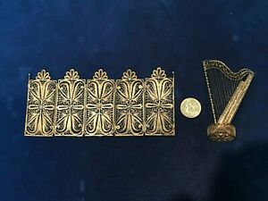 Vintage Sterling Silver Filigree Doll House Furniture Harp And Hinged Screen