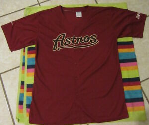 Mens Astros Red Coca Cola Jersey XL Extra Large Houston Baseball Button up