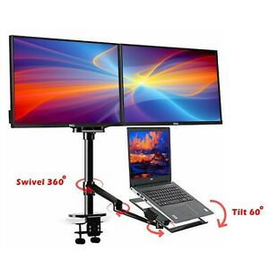 Adjustable Height Table Top Sit stand Desk Riser Fr Double Monitor laptop