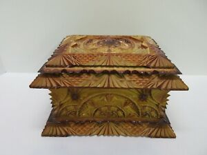 Vintage Antique Russian Tramp Art Carved Sewing Trinket Jewelry Box Rare