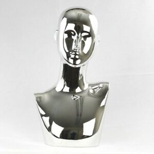 Mn 441silver Chrome Silver Female Abstract Mannequin Head Display Pierced Ears