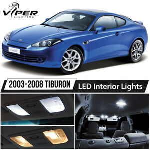White Interior Led Lights Package Kit For 2003 2008 Hyundai Tiburon
