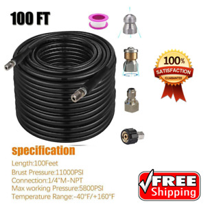 Sewer Jetter Nozzles Kit 100ft Pressure Washer Hose 1 4 Tube Cleaning 4400 Psi