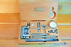 Vintage Starrett No 196 Dial Test Indicator Set With wood Case Machinist Tool