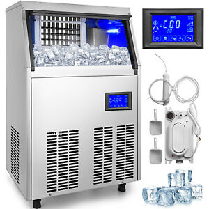 Vevor 110lbs Commercial Ice Maker Auto Ice Cube Machine With Water Filter Pump