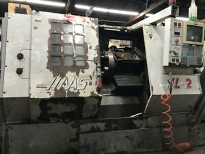 Used Haas Hl 2 Cnc Turning Center Lathe 8 Chuck Tailstock Chip Conveyor 1997