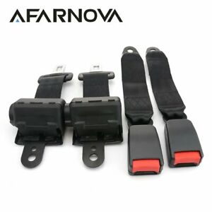 2x Black 2 Point Harness Retractable Seat Belt Safety Belt Buckle Clip Universal