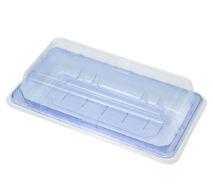 Pet Take Out Blue Food Container Sushi Tray With Lid Cookie Cake Box 6 4 X 3 5