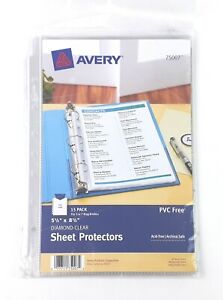 Avery Sheet Protectors 75007 5 5 X 8 5 Diamond Clear Top Load 15 Pack