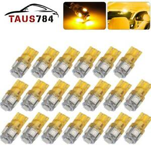 20x Amber Yellow T10 192 W5w Led Interior License Plate Dome Light Bulb 168 194