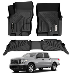 Oedro Floor Mats Liners Tpe For 2005 2021 Nissan Frontier Crew Cab All weather