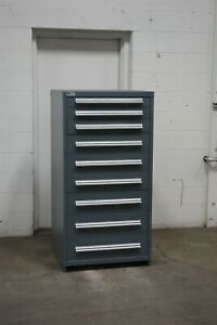 Used Stanley Vidmar 9 Drawer Cabinet Industrial Tool Storage Box 2166