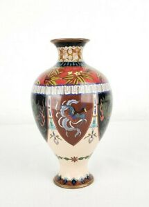 Antique Japanese Meiji Cloisonne Vase With Dragons 6 25