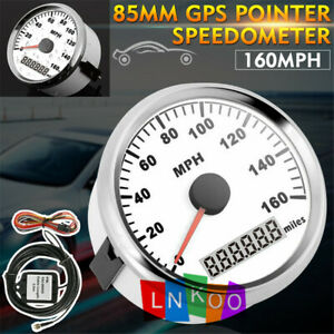 85mm Silver Gps Speedometer Gauge Stainless 0 160mph For Car Truck Motorcycle