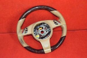 Porsche Cayenne Panemera Steering Wheel Leather Wood Trim Assembly Tan Beige Oem