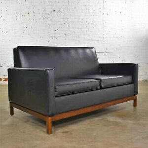 Mid Century Modern Black Faux Leather Love Seat Sofa By Taylor Chair Co Style D