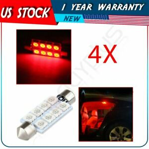 4x Red Car Bulbs Interior Festoon 42mm 8 Smd 5050 Led Lights Lamps For Dome Map