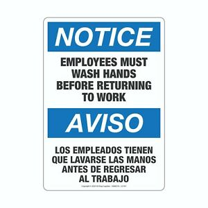 Employees Must Wash Hands Before Returning To Work English spanish Vinyl Sign