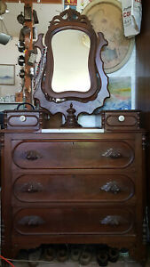 Eastlake Like Antique Hand Carved Dresser W Pivoting Mirror On Marb