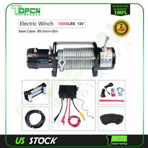 12v Off Road Electric Winch 13000lbs Pull W 85ft Cable For Jeep Car W Cover