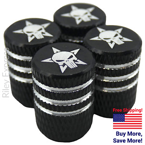 4x Wheel Tire Valve Cap Stem Cover For Bike Car Trucks Punisher Star Black