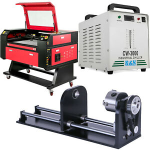 80w Co2 Laser Engraver Cw 3000 Industrial Water cooled Chiller Cnc Rotary Axis