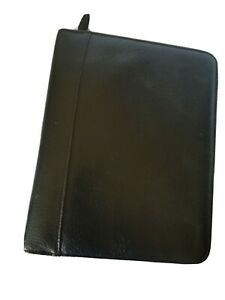 Franklin Covey Classic Vintage Black Full Grain Leather Zip Planner Binder