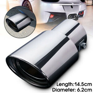 63mm Car Exhaust Pipe Trim Tip Muffler Stainless Steel Tail Throat Straight Trim