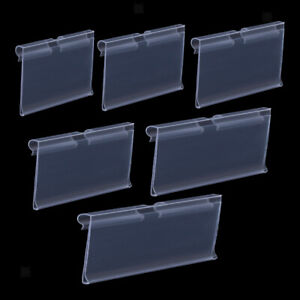 50 pack Transparent Pvc Shelf Retail Price Tag Label Display Holder Durable
