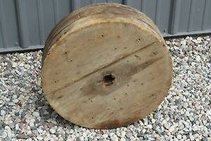 Large 17 Antique Industrial Manufacturing Wooden Wheel