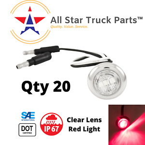 3 4 Chrome Ring Red Led Clear Lens Clearance Side Marker Bullet Lights X20