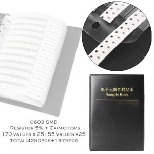 Portable 0603 Smd Resistor 170value Capacitor 55value Assortment Sample Book