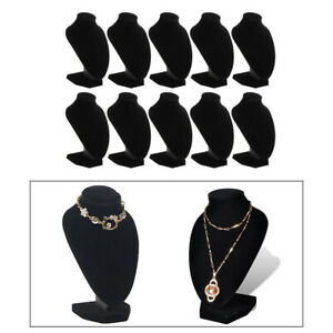 10pcs Black Velvet Jewelry Necklace Pendant Bust Display Stands Holder