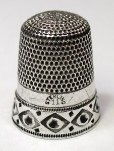Antique Simons Brothers Sterling Silver Thimble Circles In Diamonds C1880s