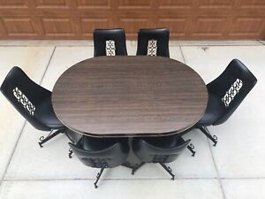 Mid Century Modern Kitchen Dining Table 6 Chairs 3 5 Round 5 Oval W Leaf