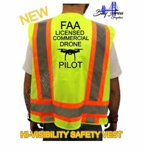 Faa Drone Pilot High Visibility Safety Yellow Vest Black Design Drone Reflective