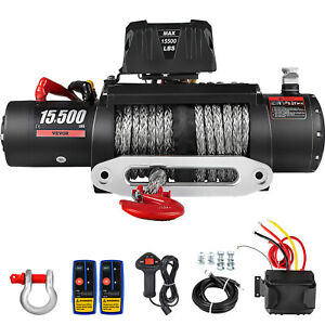15500lbs Electric Winch 12v Synthetic Cable Truck Trailer Towing Off Road 4wd