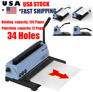 34 Holes Manual Paper Punching Binding Machine Steel Coil Binder For 120 Pages
