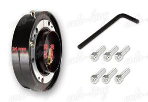 Jdm Black 6 Hole Steering Wheel 1 Thin Quick Release Short Hub Adapter Kit