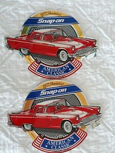 2 Vintage Snap on Tools Box 1957 Ford Thunderbird Decal Sticker American Classic