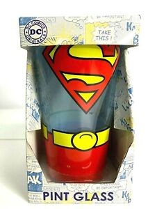 Licensed DC Comics Superman Glass Cup Pint Size 16 Oz