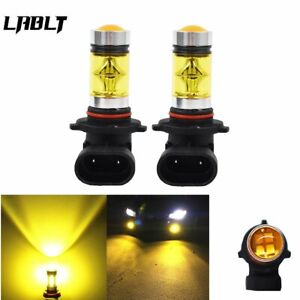 2psc Yellow Fog Driving Light Bulbs 9006 Hb4 100w 2323 Led 4300k New