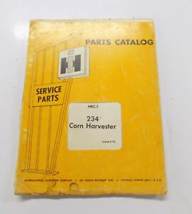 International 234 Corn Harvester Hrc 1 Parts Catalog Manual