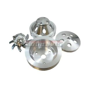 Billet Aluminum Small Block Chevy Sbc 2 Groove Water Pump Crank Pulley Kit Lwp