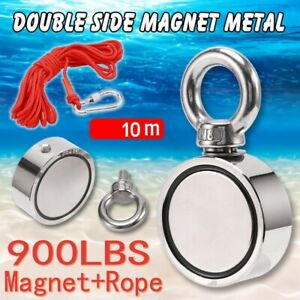 1100lb Fishing Magnet Double Sided Ring Pull Force Super Strong Neodymium